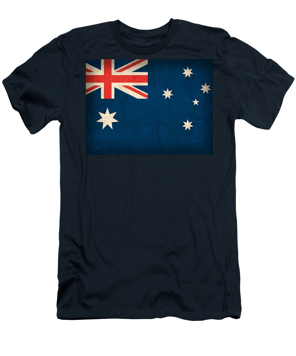 Australia Flag Vintage Distressed Finish Outback Australian Sydney Brisbane Pacific Continent Country Nation Australian T-Shirt featuring the mixed media Australia Flag Vintage Distressed Finish by Design Turnpike