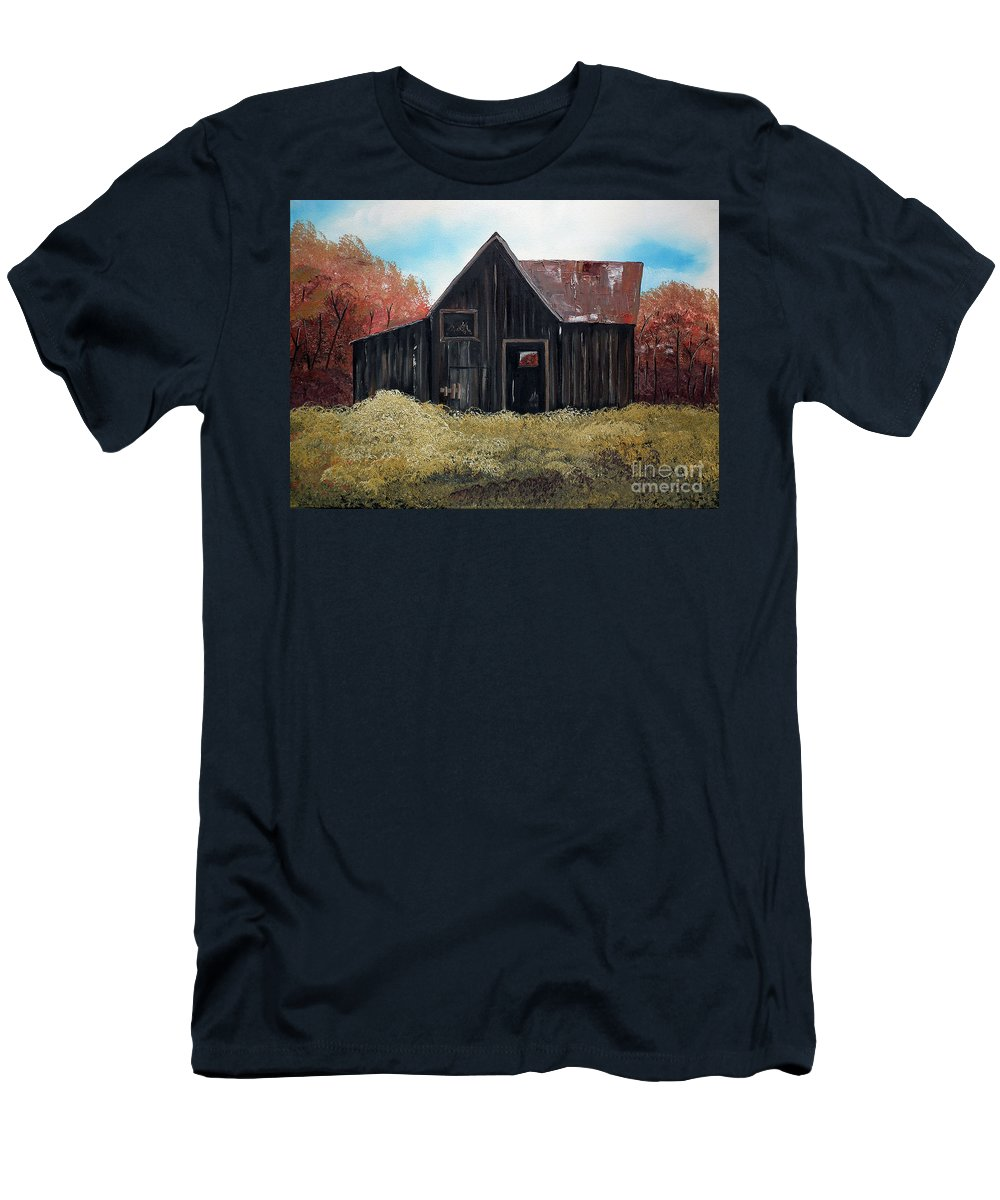 Autumn Barn Men's T-Shirt (Athletic Fit) featuring the painting Autumn - Barn -orange by Jan Dappen