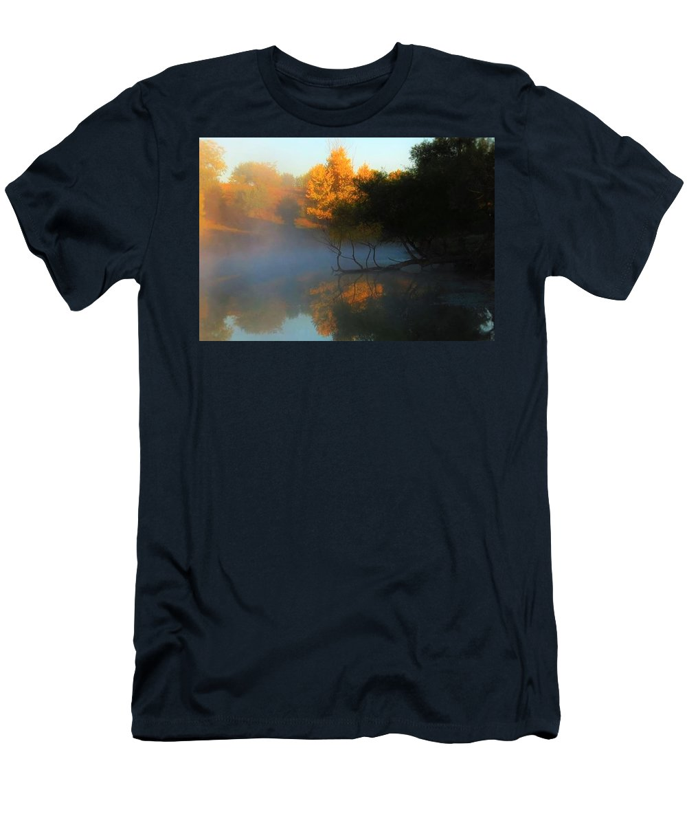 Autumn Men's T-Shirt (Athletic Fit) featuring the photograph Autumn's Mist by Renee Michelle Wenker