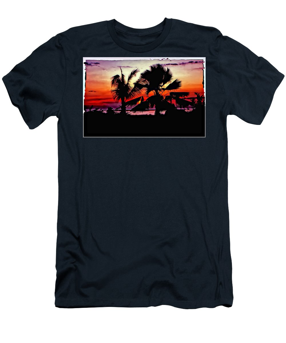 Indonesia Men's T-Shirt (Athletic Fit) featuring the photograph Bali Sunset Polaroid Transfer by Steve Harrington