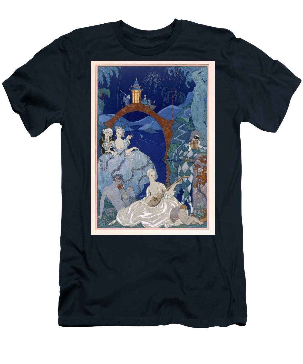 Bacchanal Men's T-Shirt (Athletic Fit) featuring the painting Ball Under The Blue Moon by Georges Barbier