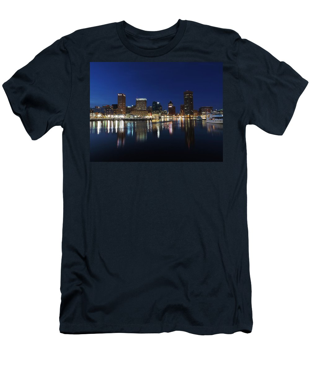 Baltimore Men's T-Shirt (Athletic Fit) featuring the photograph Baltimore Skyline At Dusk On The Inner Harbor by Cityscape Photography