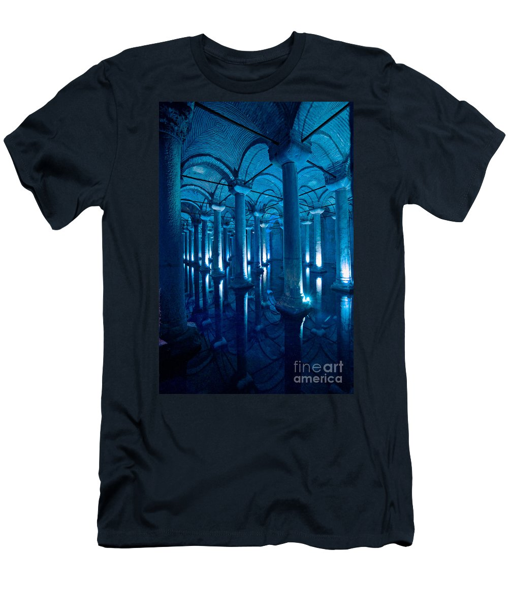 Ancient Men's T-Shirt (Athletic Fit) featuring the photograph Basilica Cistern - Istanbul - Turkey by Luciano Mortula