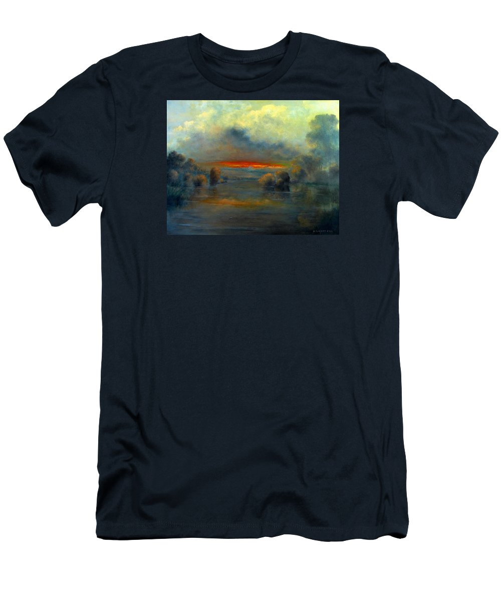 Landscape Men's T-Shirt (Athletic Fit) featuring the painting Bayou Evening 22x28 by Boris Garibyan