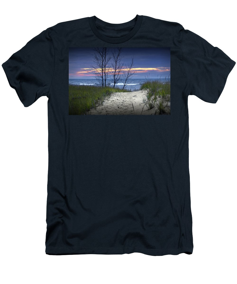 Art Men's T-Shirt (Athletic Fit) featuring the photograph Beach At Sunset By Holland Michigan No 0241 by Randall Nyhof