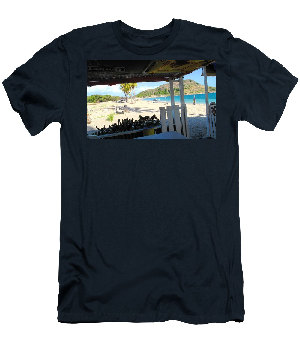 St Kitts Men's T-Shirt (Athletic Fit) featuring the photograph Beach Bar In January by Ian MacDonald