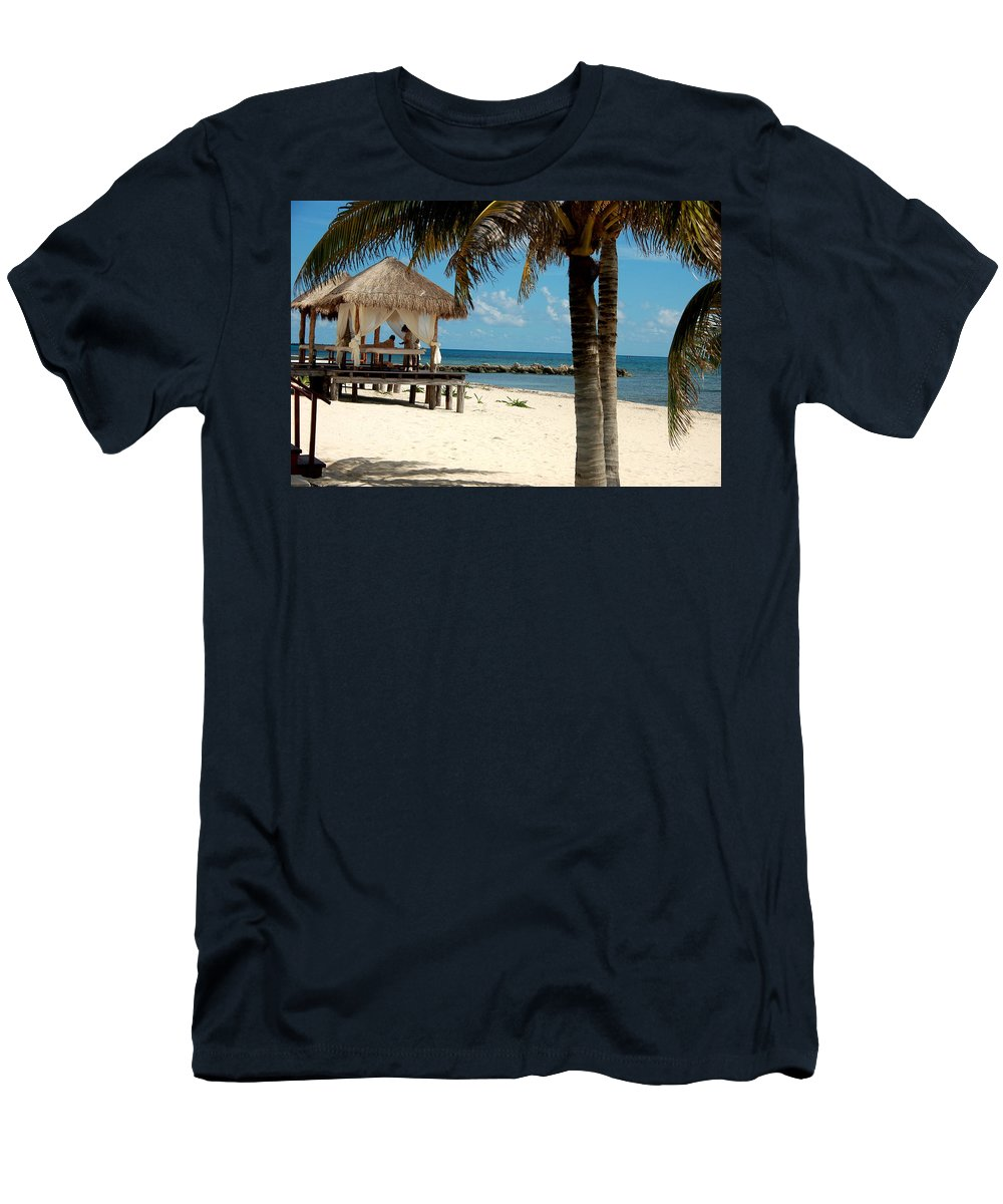 Cancun Men's T-Shirt (Athletic Fit) featuring the photograph Beach Massage by Jon Berghoff