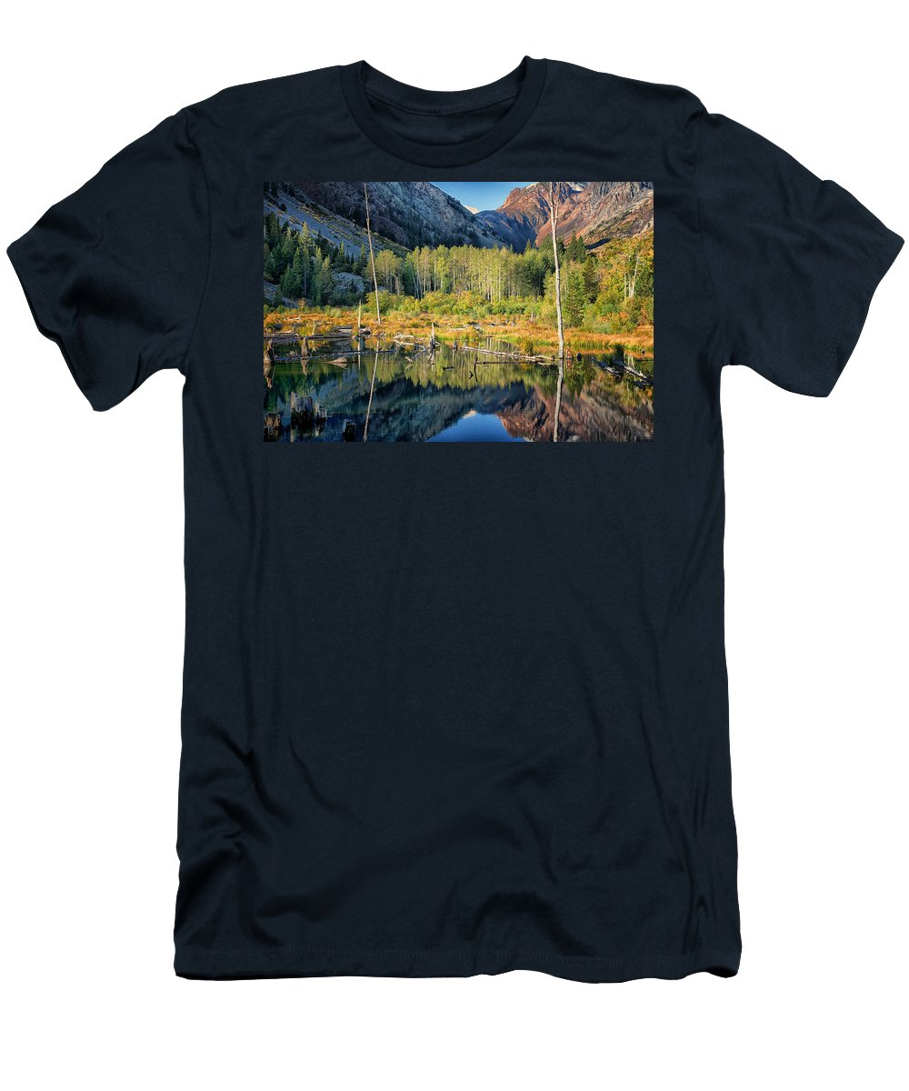 Lake Men's T-Shirt (Athletic Fit) featuring the photograph Beaver Lake Sierra Nevada Mountains by Greg Kluempers