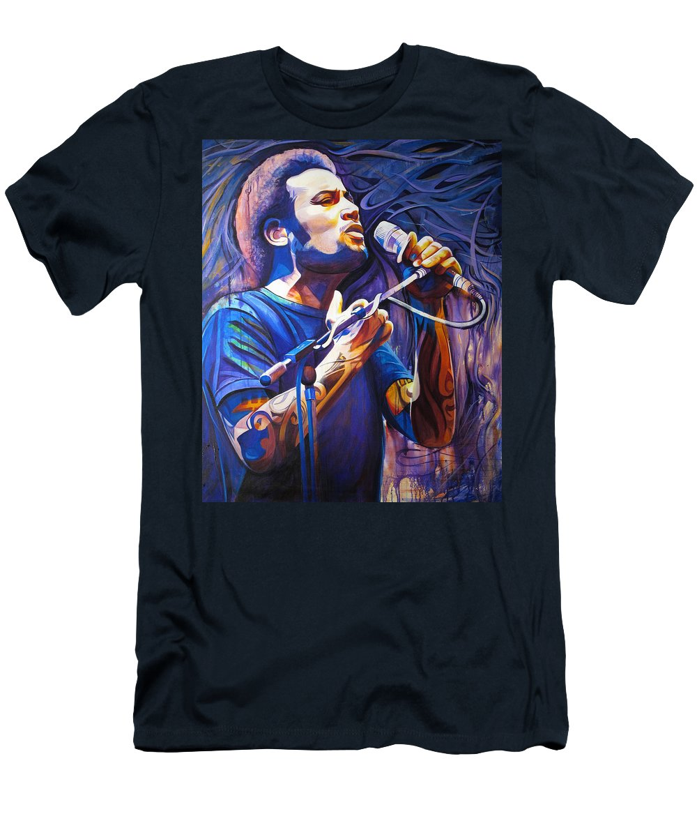 Ben Harper Men's T-Shirt (Athletic Fit) featuring the painting Ben Harper And Mic by Joshua Morton