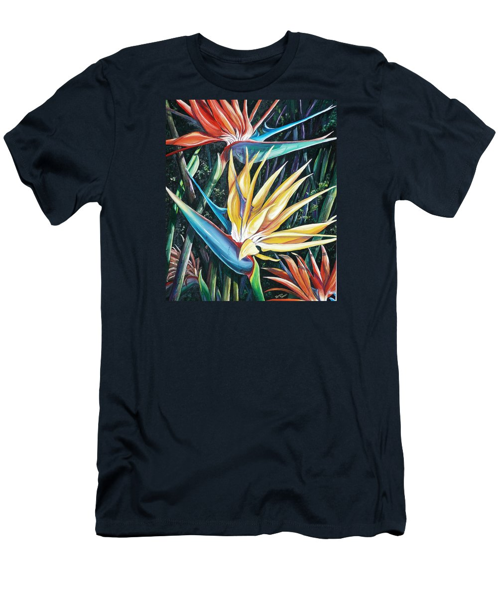 Caribbean Paintings Flower Paintings Bird Of Paradise Paintings  Lily Tropical Paintings Caribbean Flower Paintings Tropical Paintings Tropical Flower Paintings Greeting Card Paintings Canvas Print Paintings Poster Print Paintings Bloom Colorful Men's T-Shirt (Athletic Fit) featuring the painting Birds Of Paradise 2  Sold by Karin Dawn Kelshall- Best