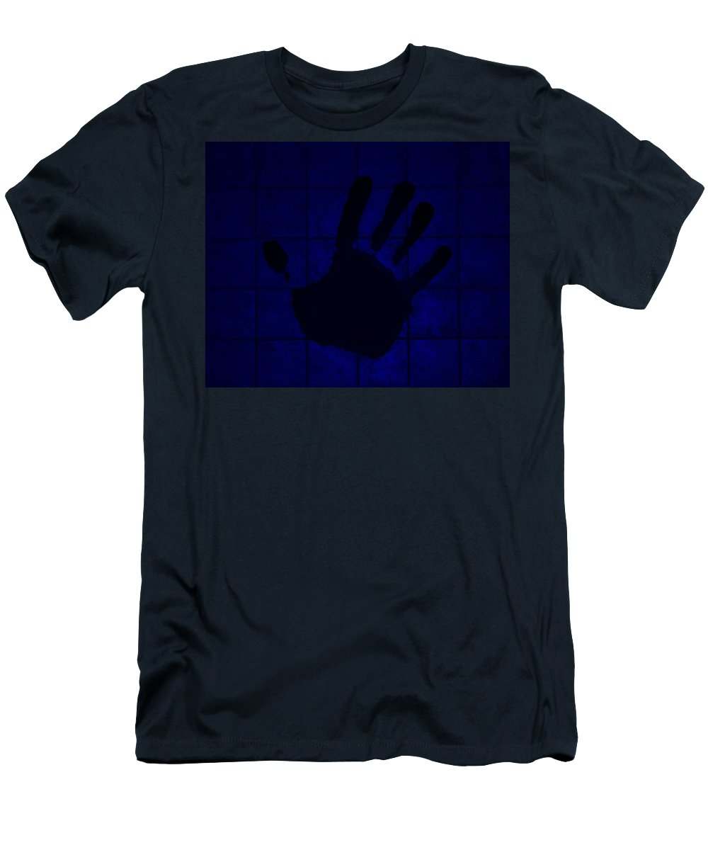 Hand Men's T-Shirt (Athletic Fit) featuring the photograph Black Hand Blue by Rob Hans