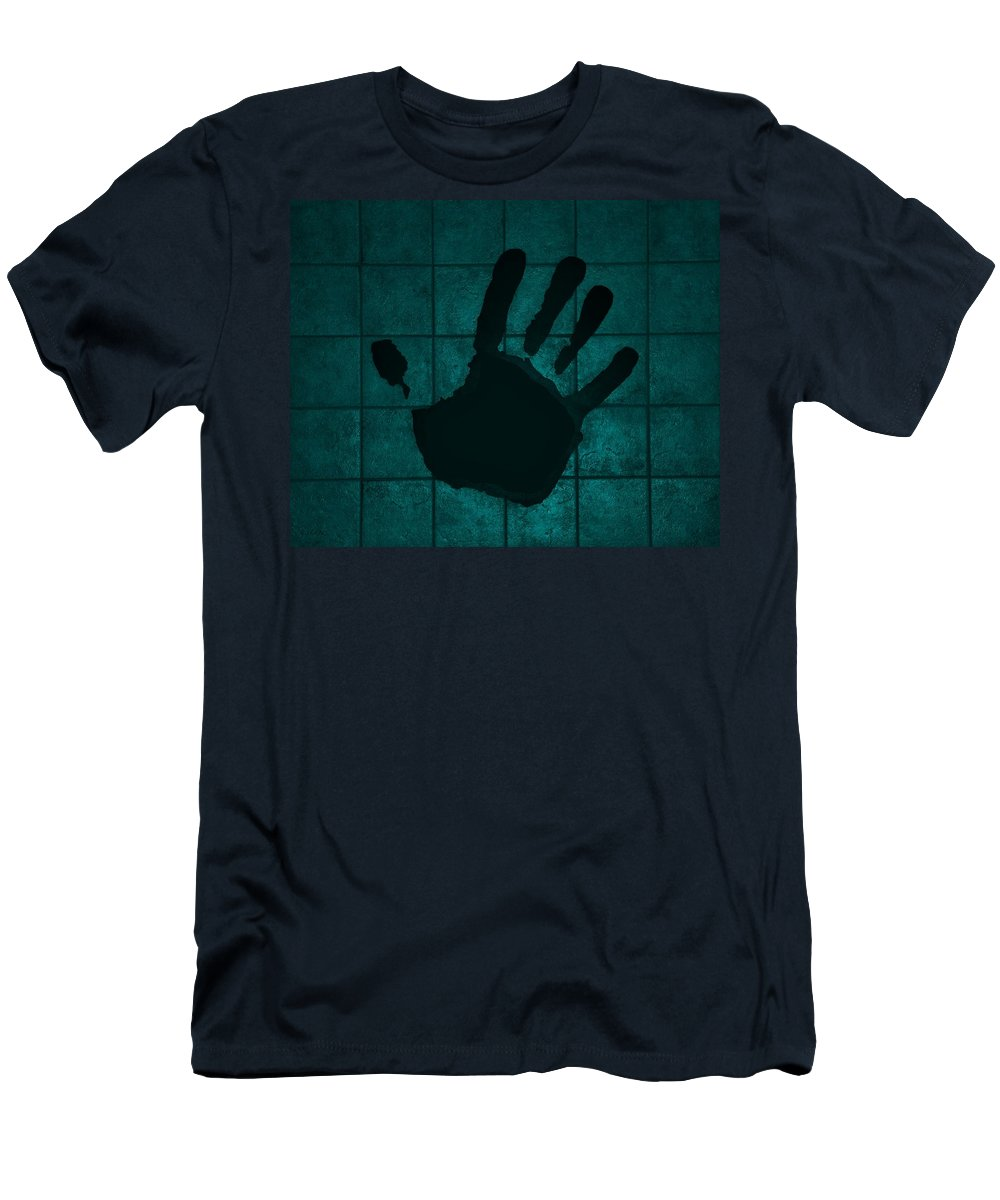 Hand Men's T-Shirt (Athletic Fit) featuring the photograph Black Hand Turquoise by Rob Hans