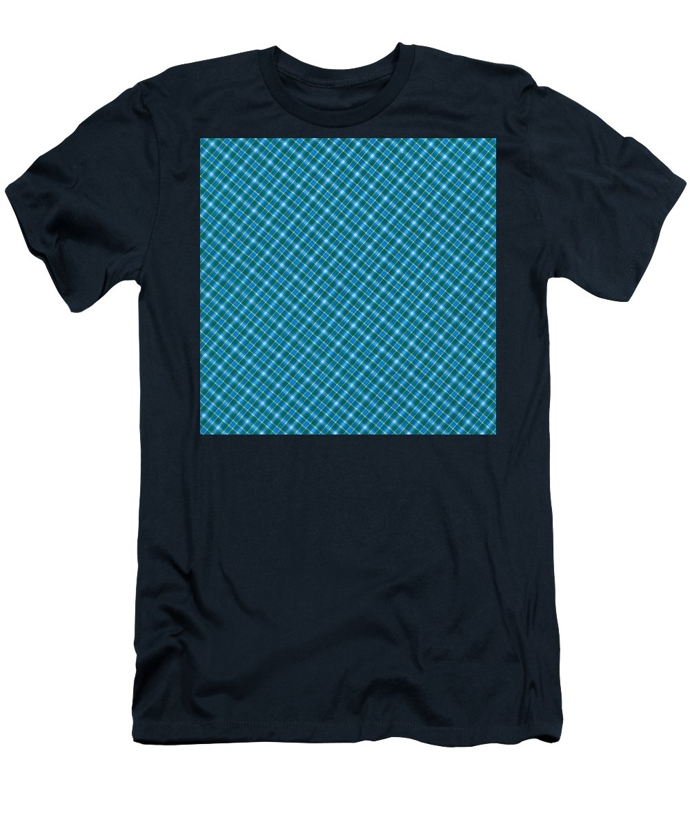 Pattern Men's T-Shirt (Athletic Fit) featuring the photograph Blue And Teal Diagonal Plaid Pattern Textile Background by Keith Webber Jr