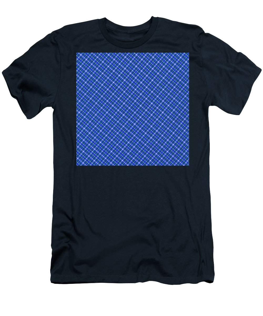 Pattern Men's T-Shirt (Athletic Fit) featuring the photograph Blue And White Diagonal Plaid Pattern Cloth Background by Keith Webber Jr
