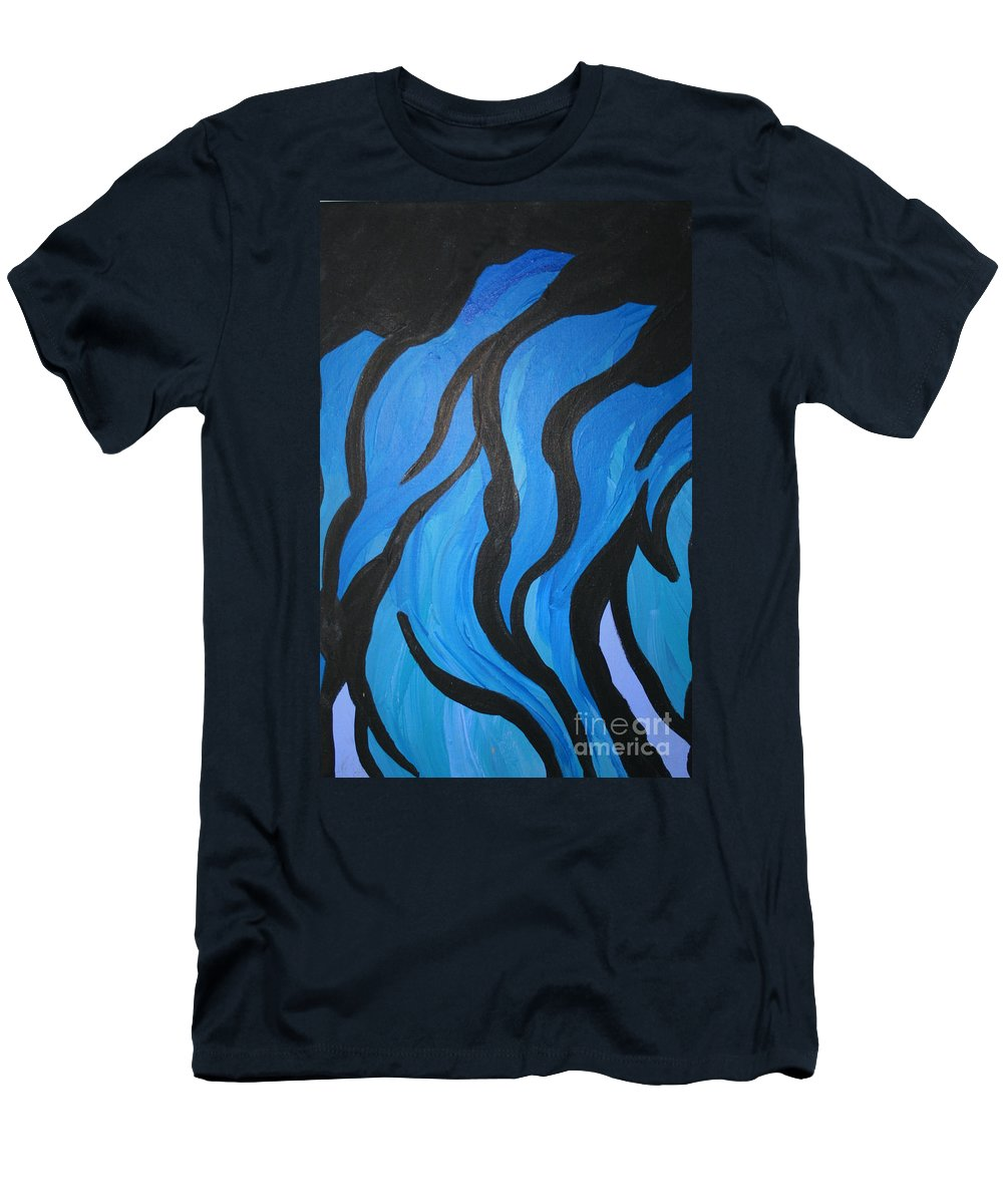 New Age Men's T-Shirt (Athletic Fit) featuring the photograph Blue Flames Of Healing by Mary Mikawoz