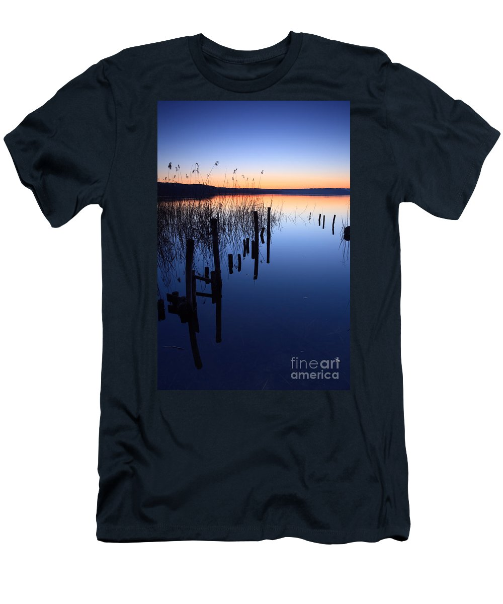 Lake Men's T-Shirt (Athletic Fit) featuring the photograph Blue Hour II by Matteo Colombo