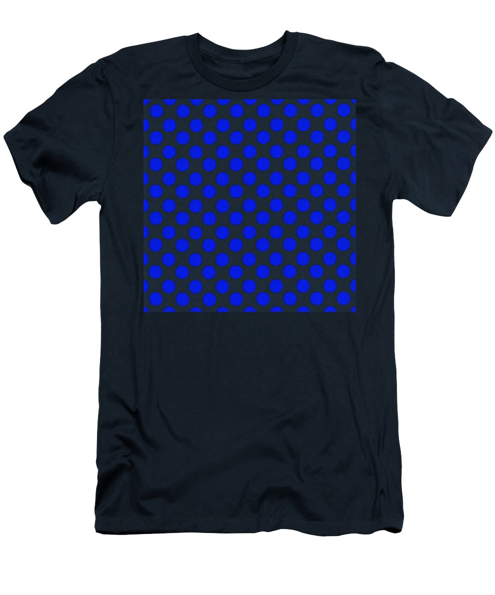 Polka Dots Men's T-Shirt (Athletic Fit) featuring the photograph Blue Polka Dots On Black Textile Background by Keith Webber Jr