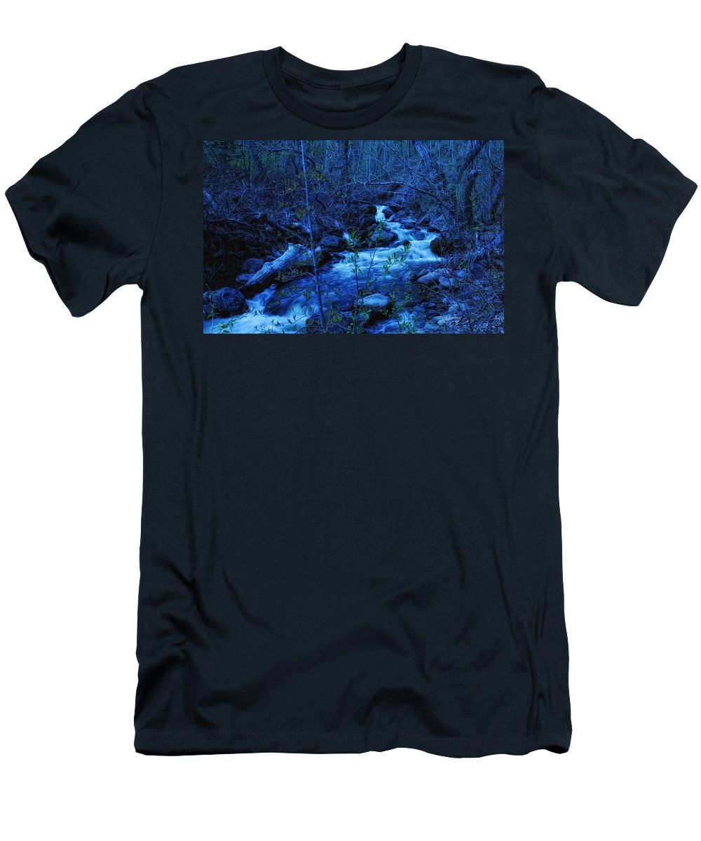 Blue Men's T-Shirt (Athletic Fit) featuring the photograph Blues Traveler by Donna Blackhall
