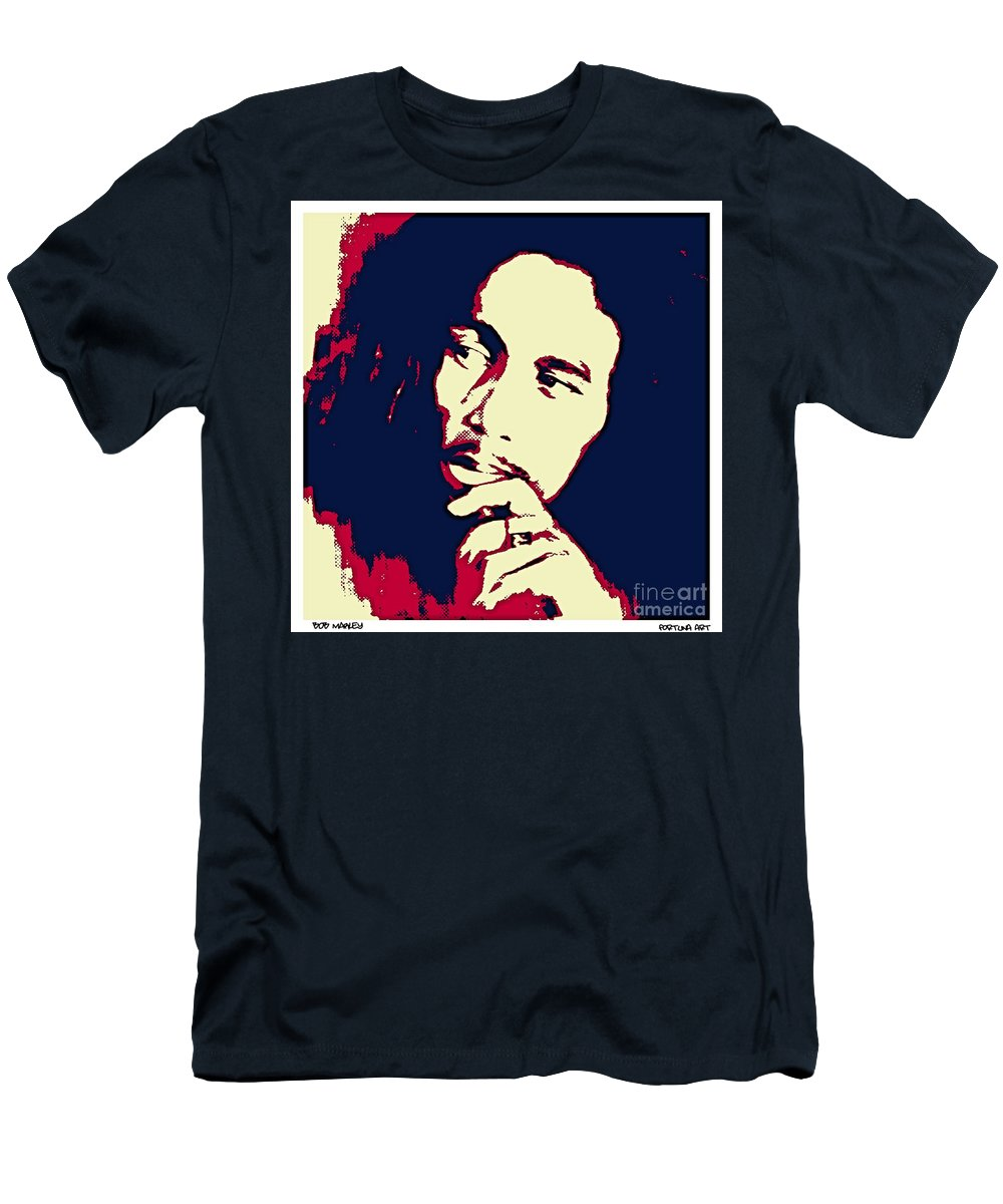 Portrait Men's T-Shirt (Athletic Fit) featuring the digital art Bob Marley by Dragica Micki Fortuna