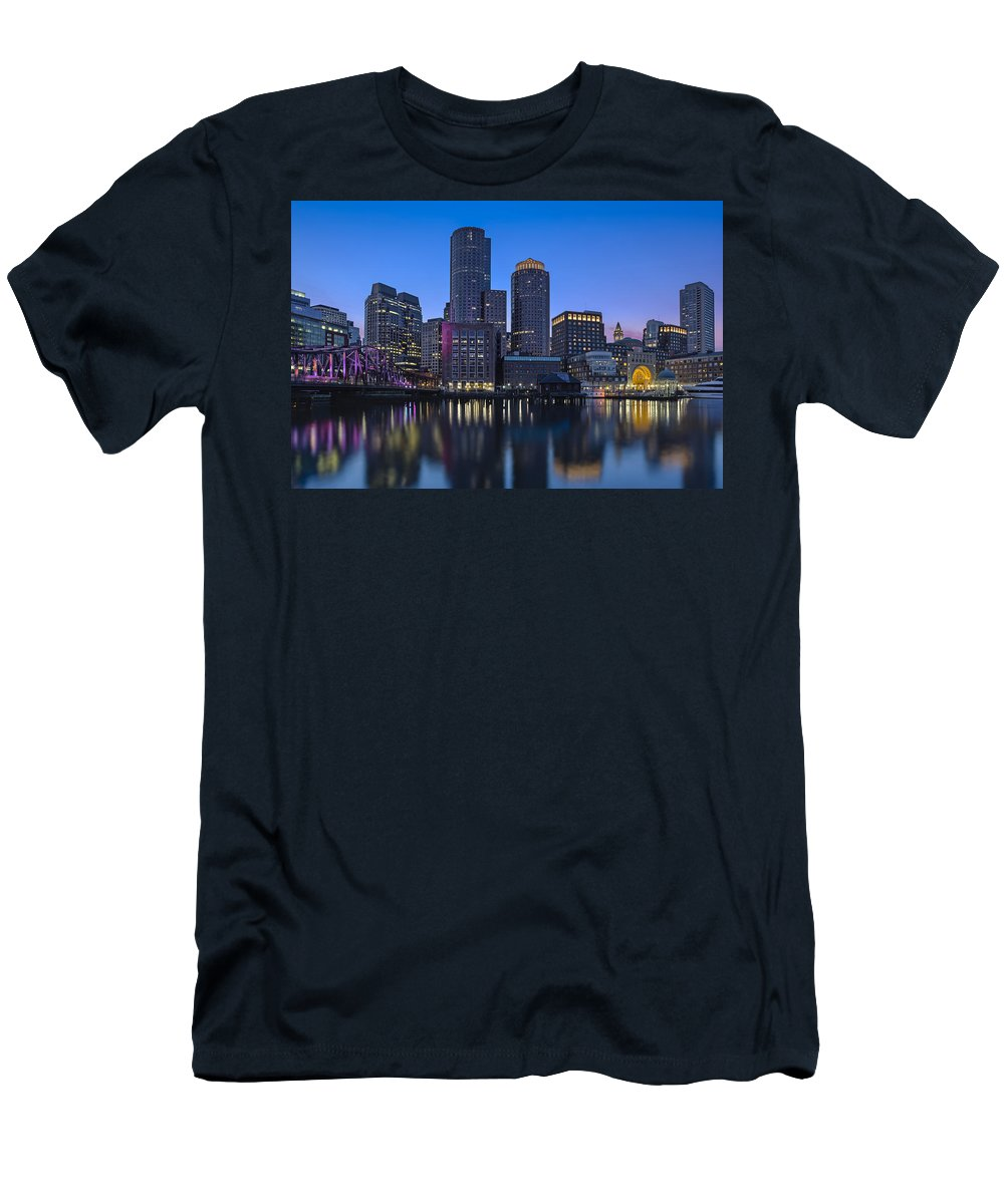 Boston Men's T-Shirt (Athletic Fit) featuring the photograph Boston Skyline Seaport District by Susan Candelario