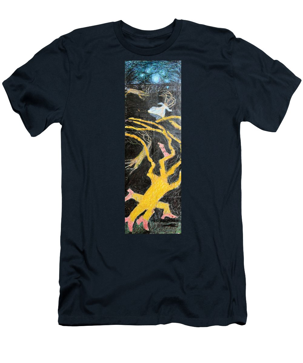 Abstract White Wedding Moon House Modern Outsider Red Shoes Flying Stars Folk Raw Tree Men's T-Shirt (Athletic Fit) featuring the painting Bride In Blood Shoes - Right by Nancy Mauerman