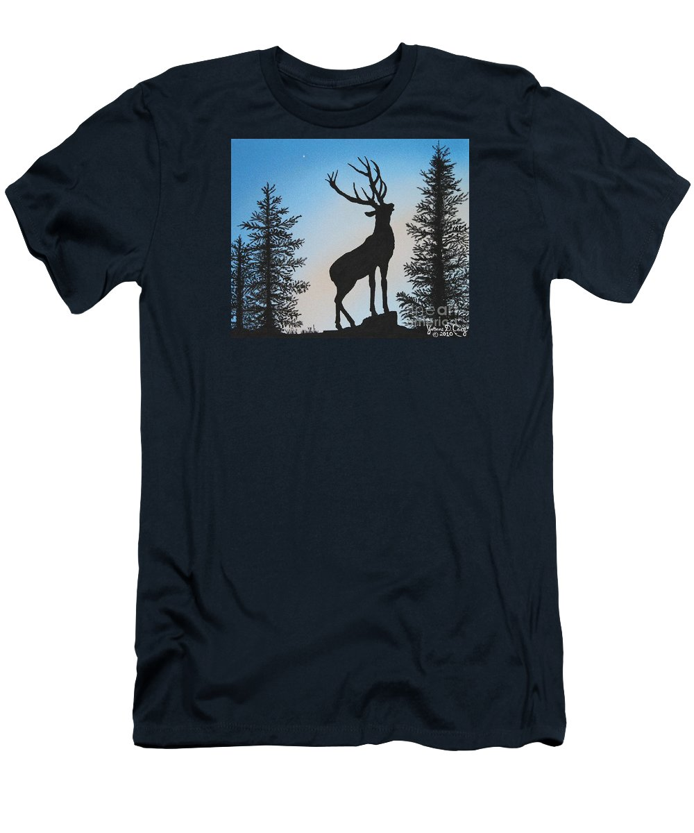 Fine Art Original Oil Painting On Canvas Men's T-Shirt (Athletic Fit) featuring the painting Bugle At Dawn by Yvonne Cacy