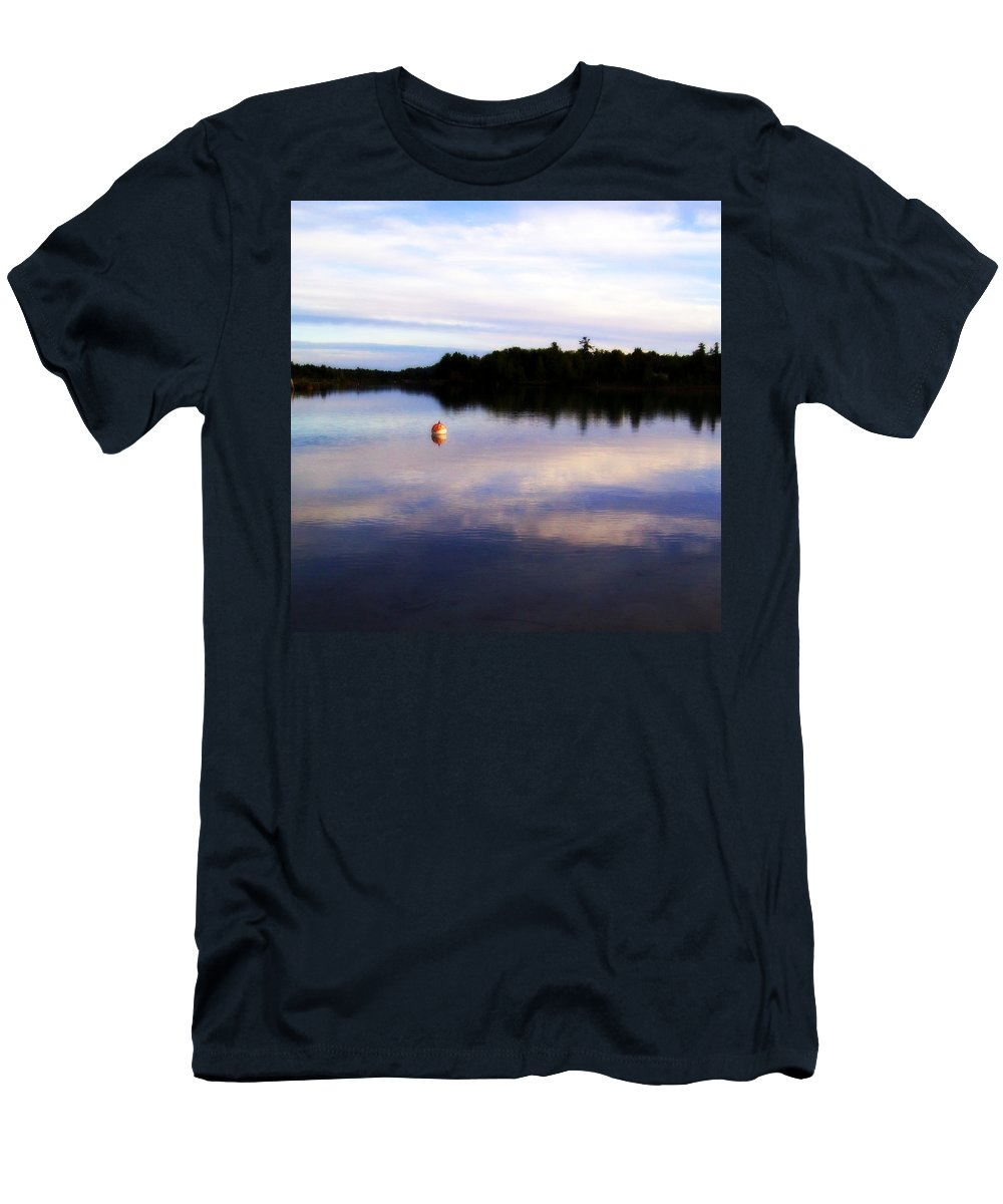 River Men's T-Shirt (Athletic Fit) featuring the photograph Buoy On The Torch Bayou by Michelle Calkins