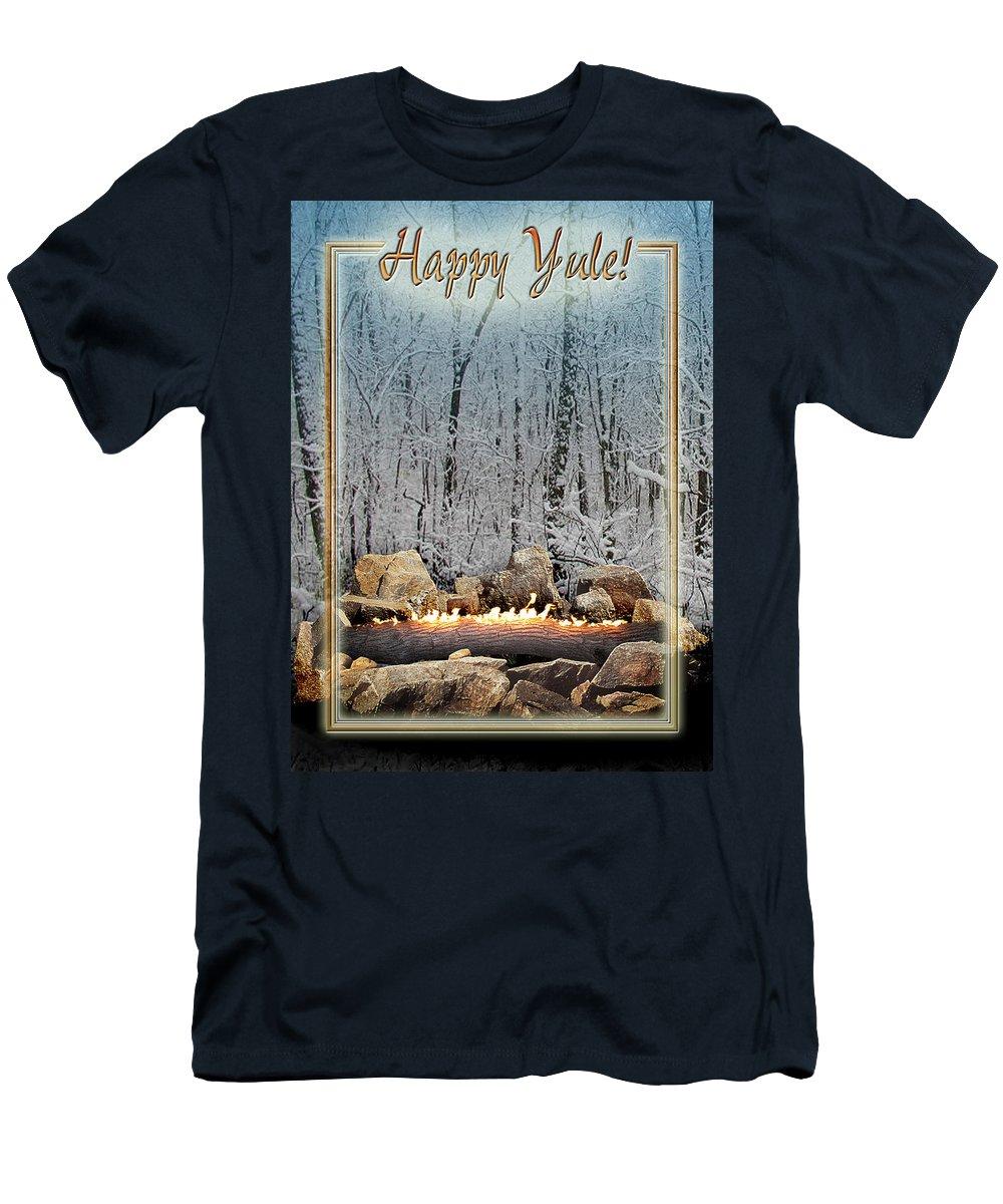 Yule T-Shirt featuring the digital art Burning Yule Log by Melissa A Benson