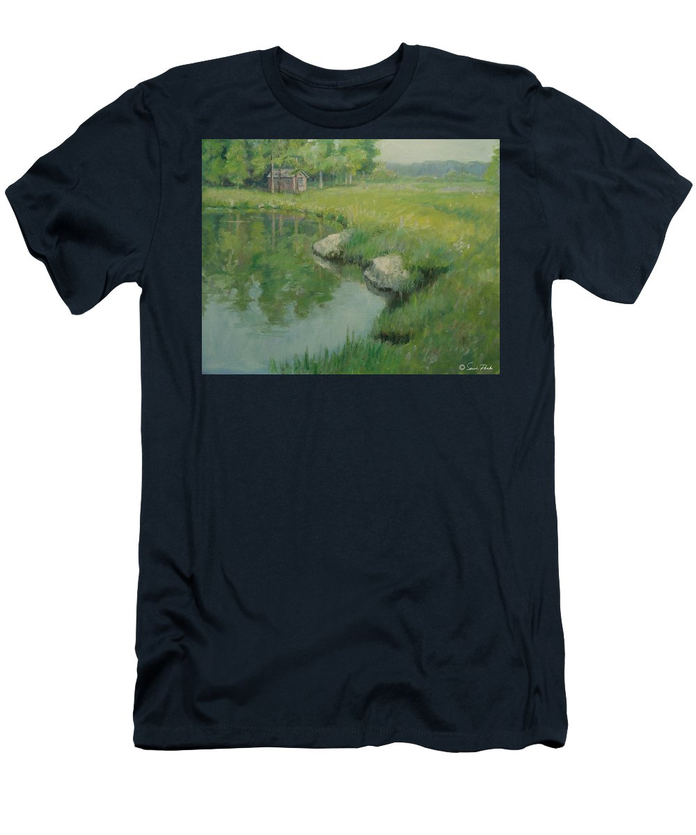 Landscape Men's T-Shirt (Athletic Fit) featuring the painting Cabin By The Pond by Sarah Parks