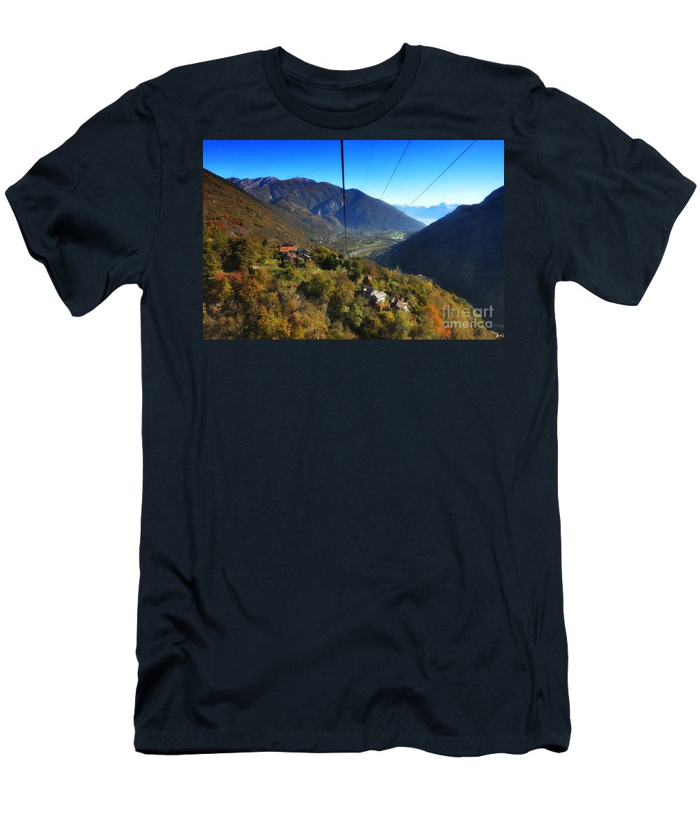 Cableway Men's T-Shirt (Athletic Fit) featuring the photograph Cableway Over The Mountain by Mats Silvan