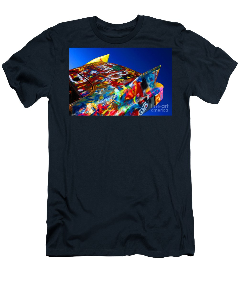 Cadillac Ranch Men's T-Shirt (Athletic Fit) featuring the photograph Cadillac Ranch 1 by Bob Christopher