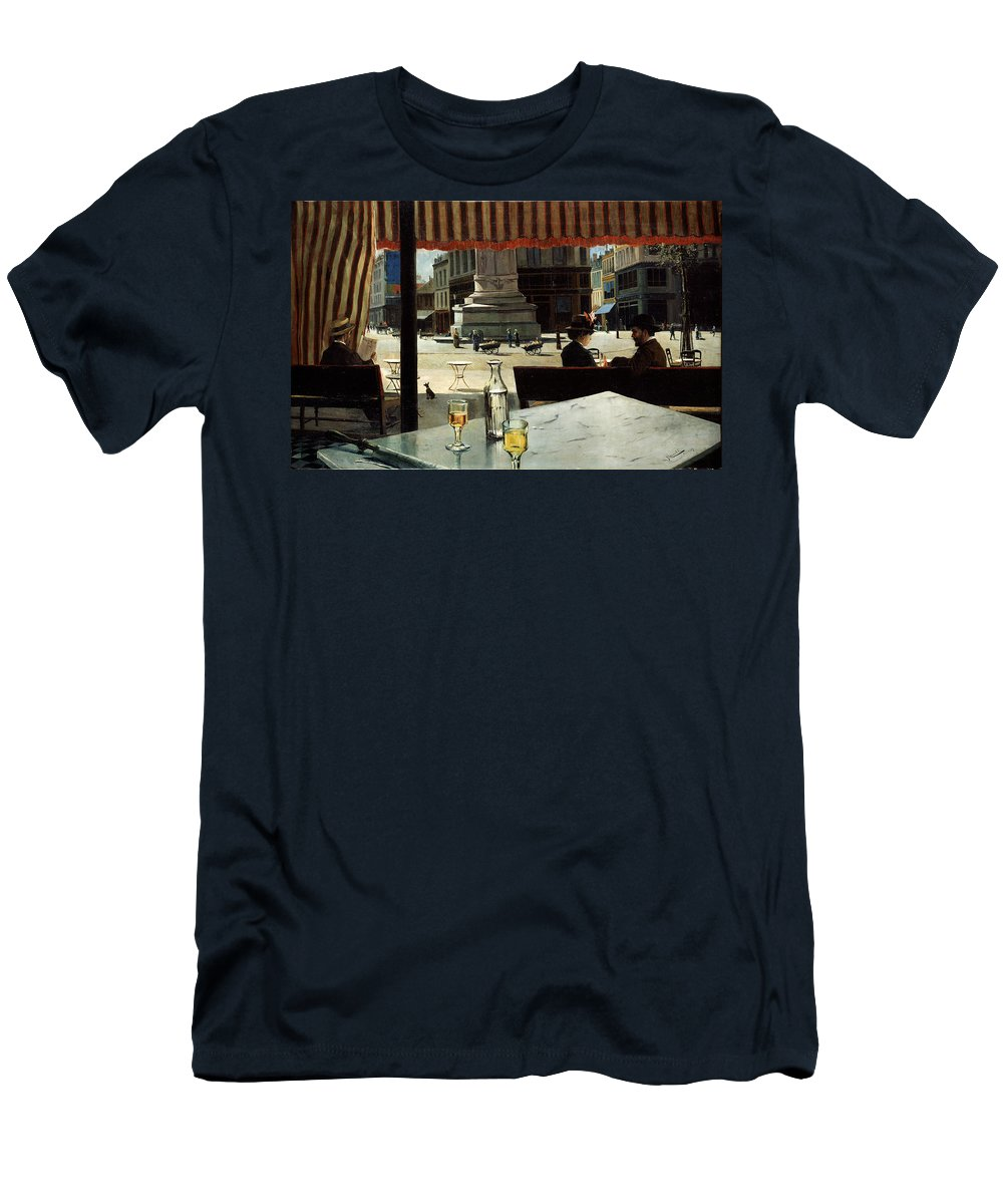 Elisio Men's T-Shirt (Athletic Fit) featuring the painting Cafe In A City Square by Eliseo Meifren y Roig