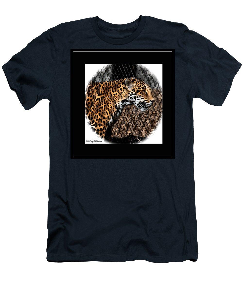 Jaguar T-Shirt featuring the photograph Caged Jaguar by Lucy VanSwearingen