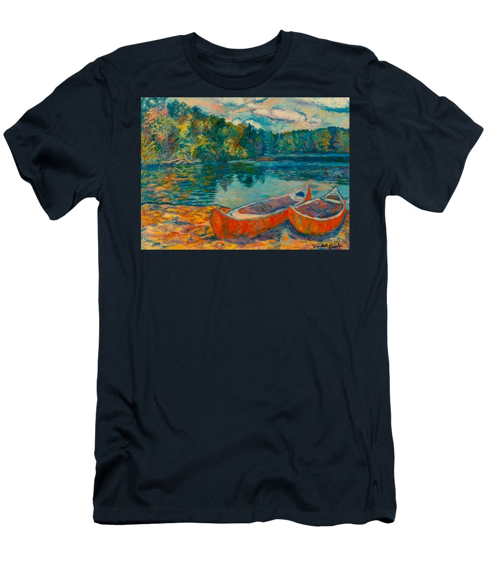 Landscape T-Shirt featuring the painting Canoes at Mountain Lake by Kendall Kessler