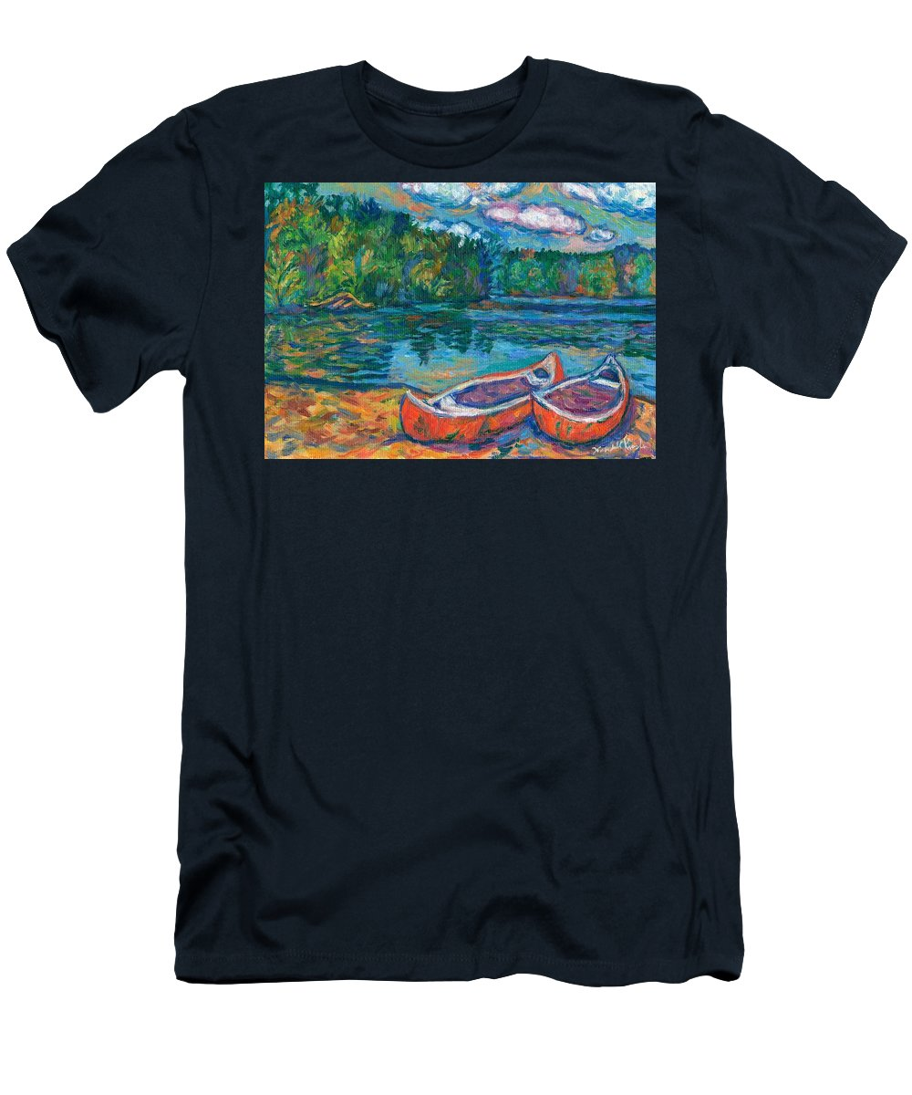 Landscape Men's T-Shirt (Athletic Fit) featuring the painting Canoes At Mountain Lake Sketch by Kendall Kessler