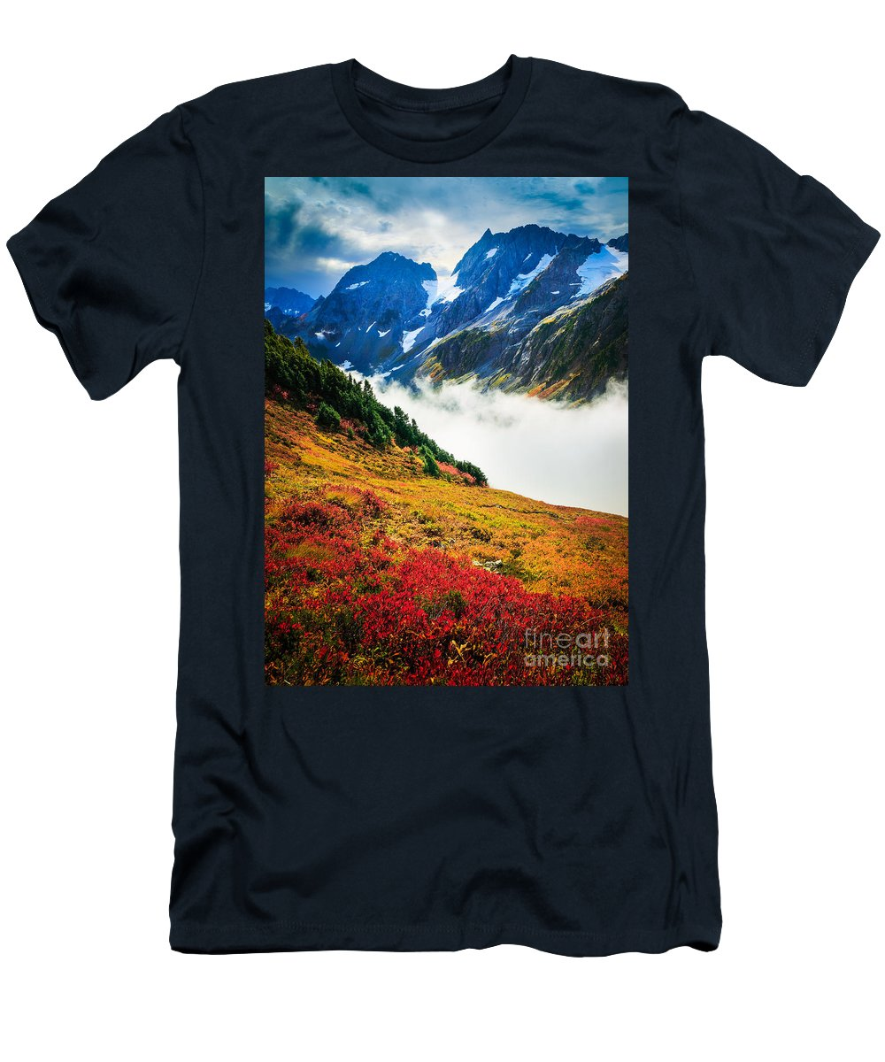 America Men's T-Shirt (Athletic Fit) featuring the photograph Cascade Pass Peaks by Inge Johnsson