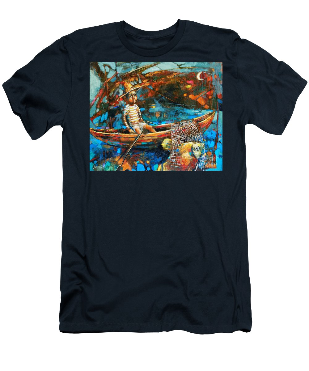 Catching A Gold Fish Men's T-Shirt (Athletic Fit) featuring the painting Catching A Goldfish by Michal Kwarciak