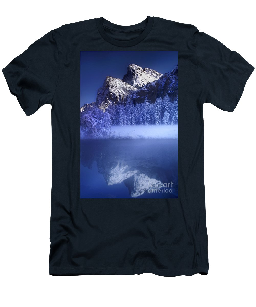 Yosemite National Park Men's T-Shirt (Athletic Fit) featuring the photograph Cathedral Rocks Reflection Yosemite National Park by Dave Welling