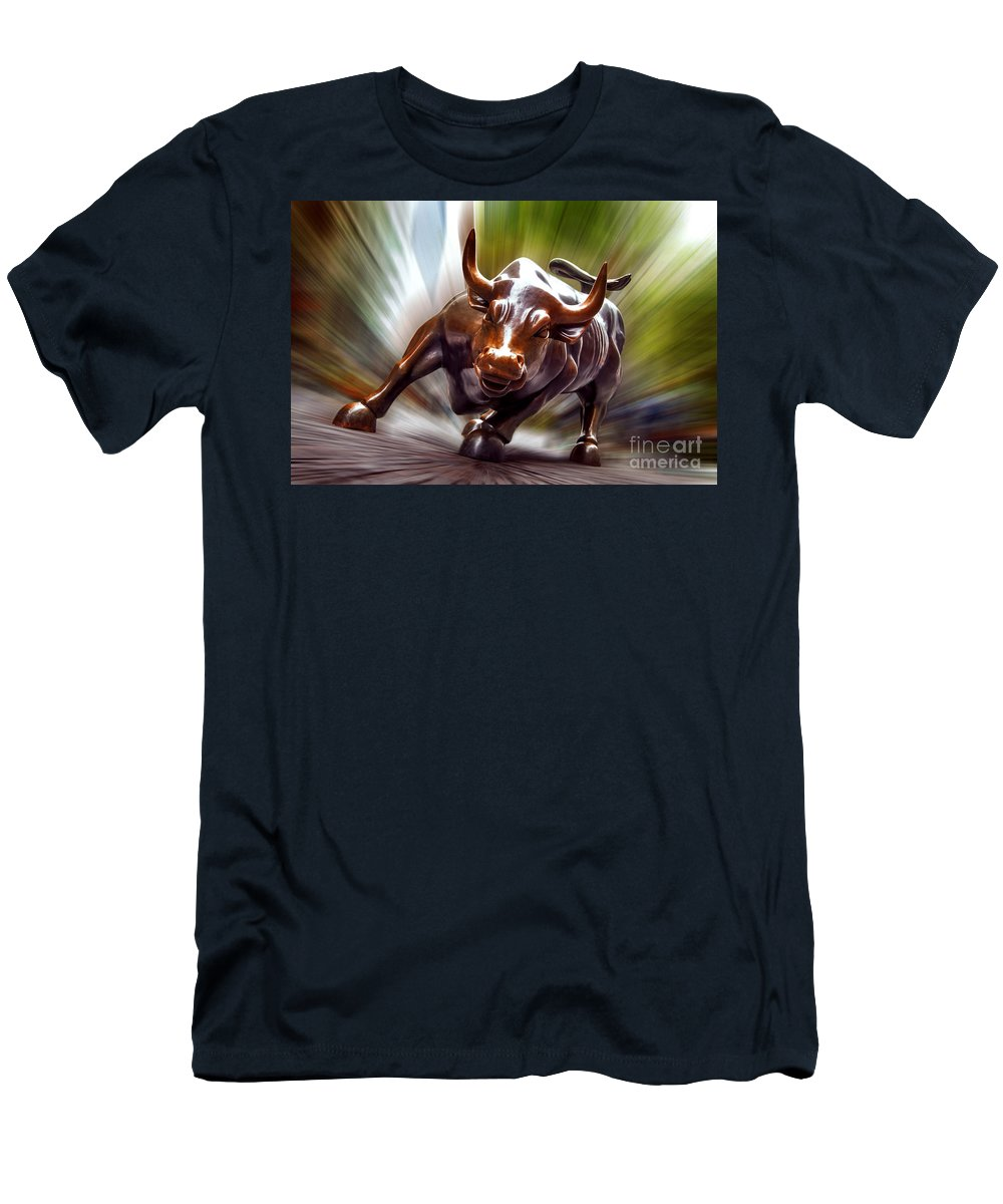 Charging Bull Men's T-Shirt (Athletic Fit) featuring the photograph Charging Bull by Az Jackson