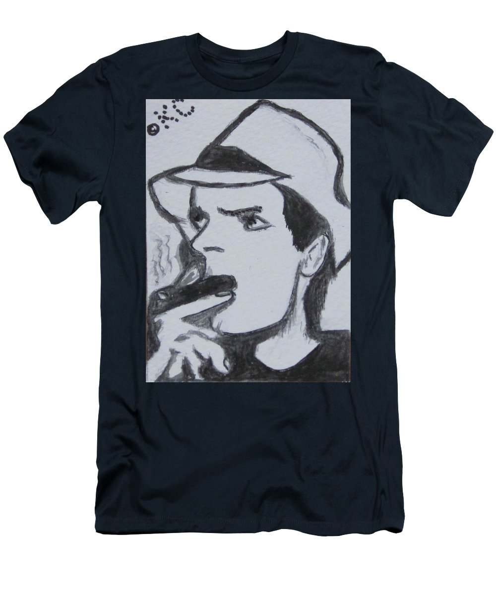 Two And A Half Men Men's T-Shirt (Athletic Fit) featuring the painting Charlie Sheen by Kathy Marrs Chandler