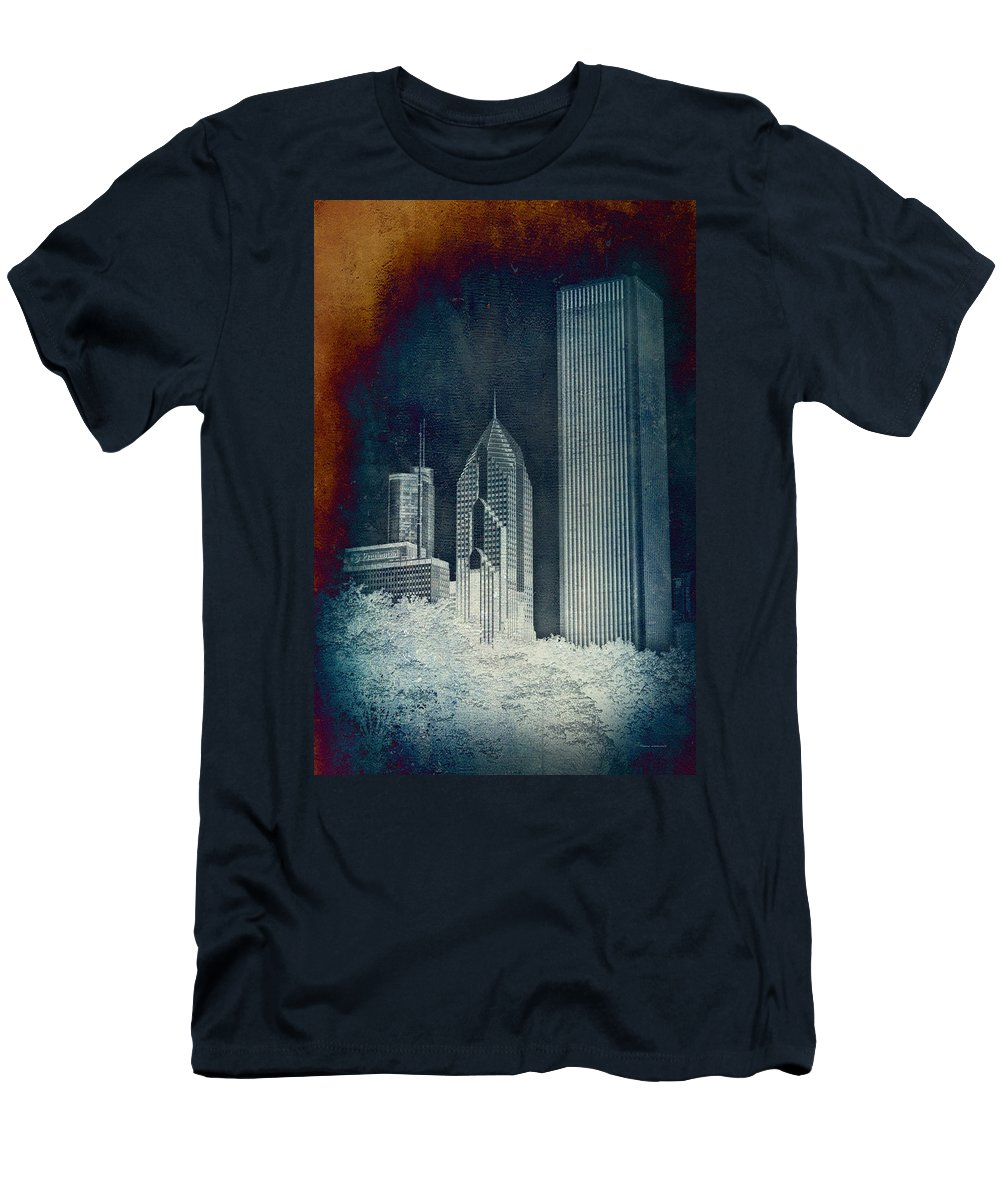 Chicago Men's T-Shirt (Athletic Fit) featuring the photograph Chicago 4 Tall Shoulders Textured by Thomas Woolworth