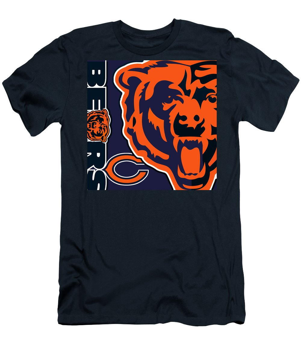 Chicago Men's T-Shirt (Athletic Fit) featuring the painting Chicago Bears by Tony Rubino
