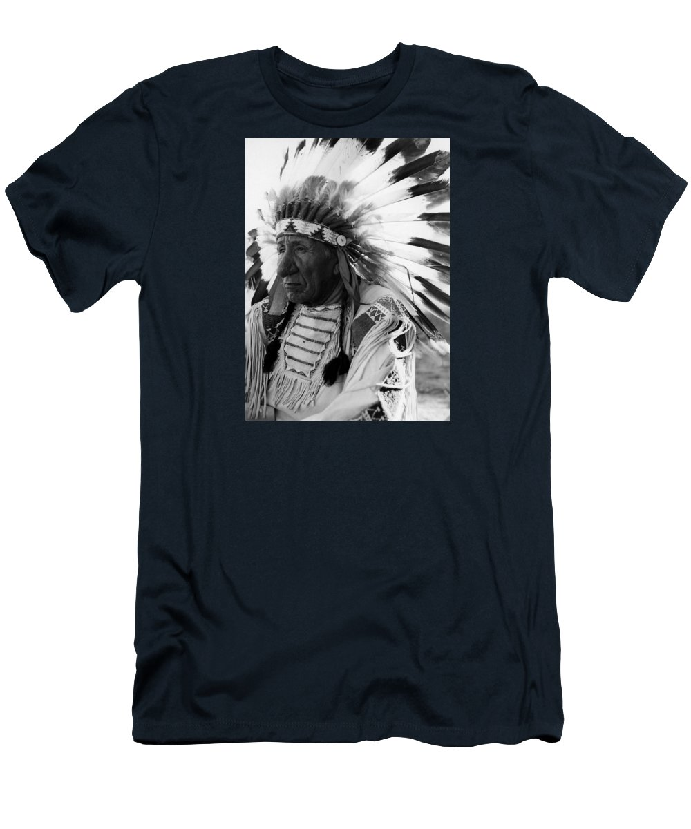 Red Cloud Men's T-Shirt (Athletic Fit) featuring the photograph Chief Red Cloud by War Is Hell Store