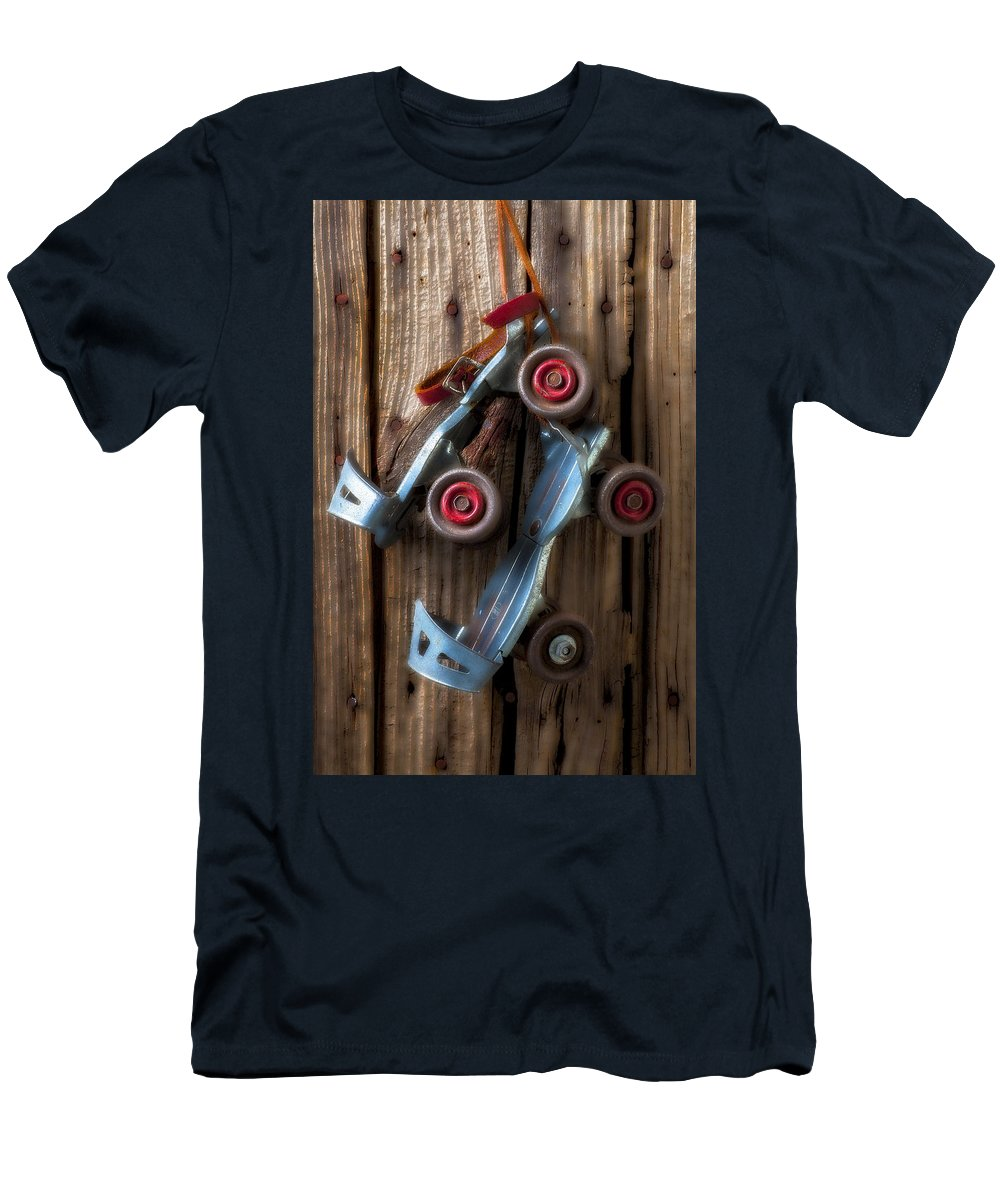 Old Roller Skates Men's T-Shirt (Athletic Fit) featuring the photograph Childhood Skates by Garry Gay