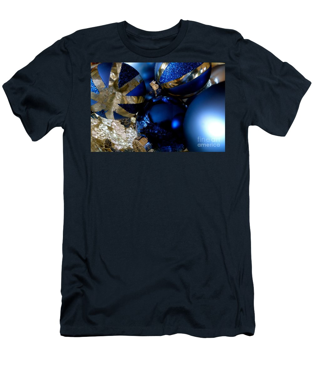 Christmas Men's T-Shirt (Athletic Fit) featuring the photograph Christmas Blue by Jacqueline Athmann