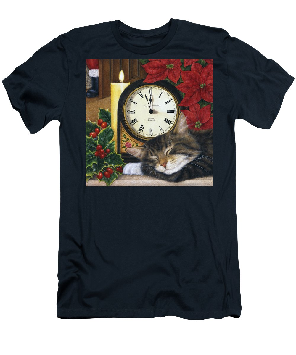 Art Licensing Men's T-Shirt (Athletic Fit) featuring the painting Christmas Eve Nap by Anne Mortimer