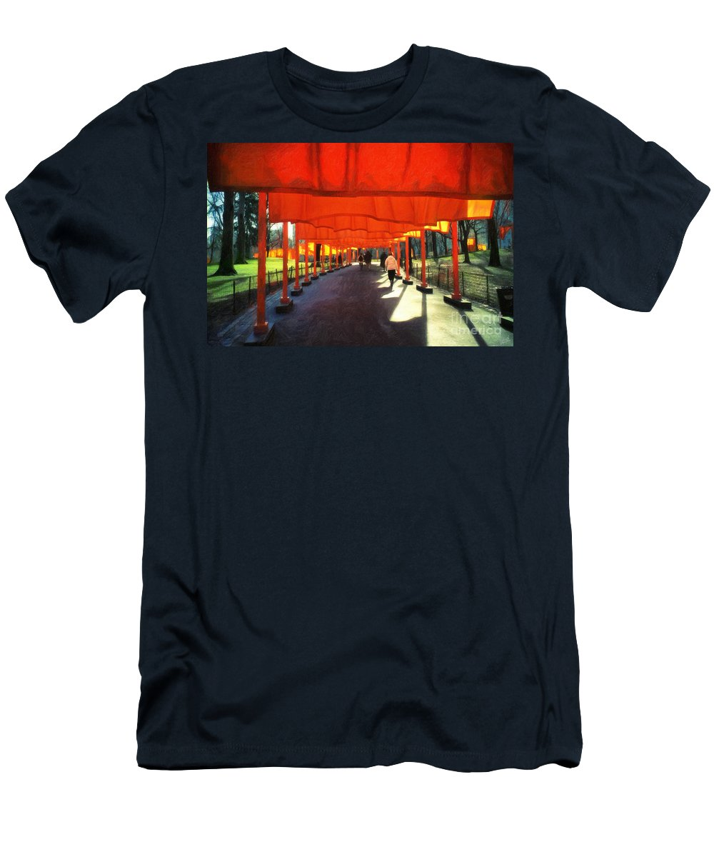 The Gates Men's T-Shirt (Athletic Fit) featuring the photograph Christo - The Gates - Project For Central Park by Nishanth Gopinathan