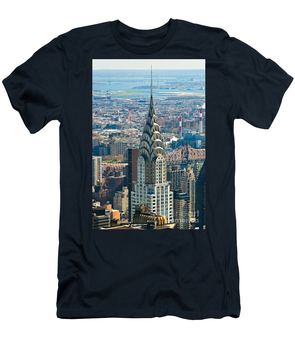 Aerial Men's T-Shirt (Athletic Fit) featuring the photograph Chrysler Building - Nyc by Luciano Mortula