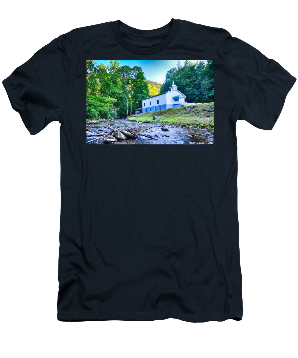 Tree Men's T-Shirt (Athletic Fit) featuring the photograph Church In The Mountains By The River by Alex Grichenko