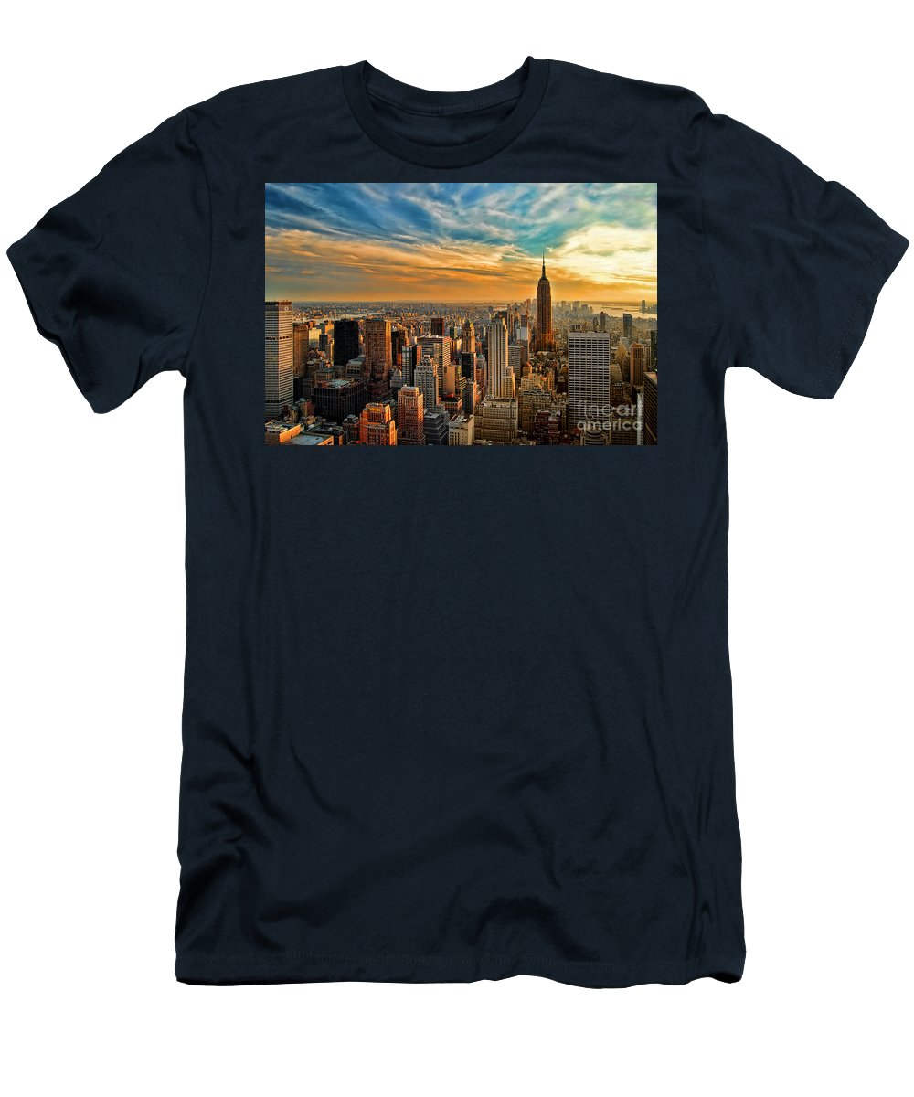 New York City Men's T-Shirt (Athletic Fit) featuring the photograph City Sunset New York City Usa by Sabine Jacobs